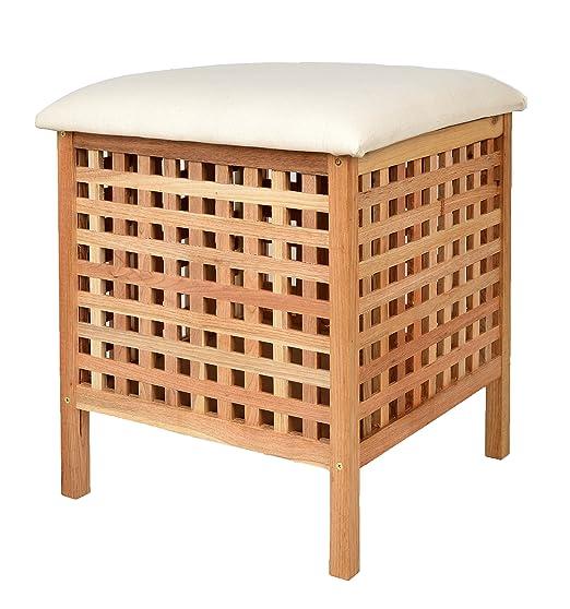 Badhocker holz  Badhocker mit Sitzkissen Sauna Badezimmer Sitz und Wäschekorb aus ...