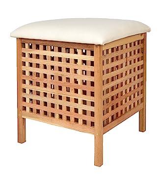 Badhocker mit wäschetruhe  Badhocker mit Sitzkissen Sauna Badezimmer Sitz und Wäschekorb aus ...