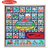 7142525fa020 Melissa & Doug Alphabet Train Lacing Beads - 27 Wooden Train Beads, 6  Pattern Cards