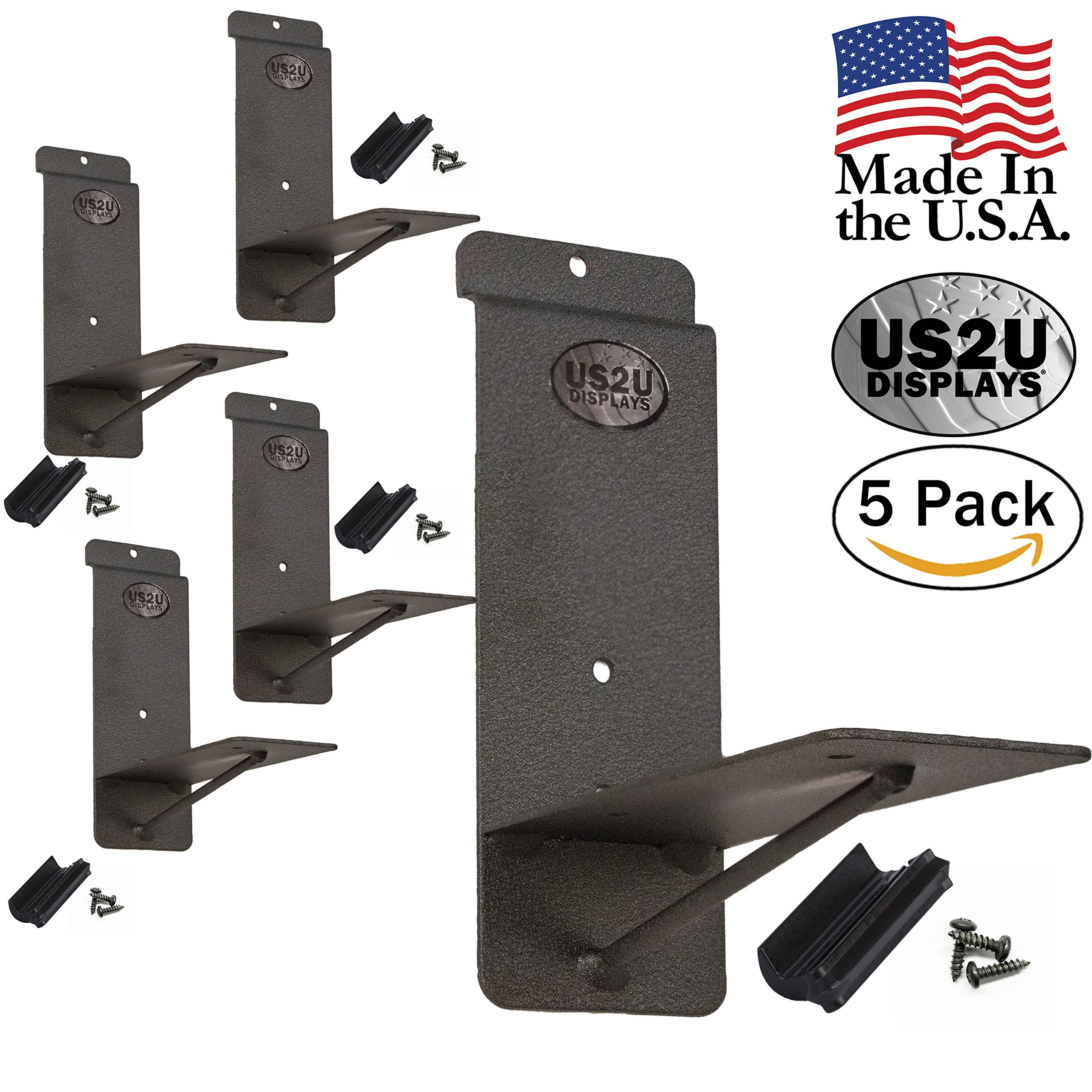 US2U Displays Garage Shelving Bracket – 5 PACK - 5 Inch Heavy Duty for Slatwall Wall Tool Organizer and Storage Systems – For Industrial Strength Floating Shelf - US05-5-3SW