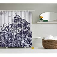 ABxinyoule Octopus Sail Boat Shower Curtain Waterproof Fabric with Hook Bathroom Decor