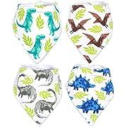 Stadela Baby Adjustable Bandana Drool Bibs for Drooling and Teething Nursery Burp Cloths 4 Pack Baby Shower Gift Set for Boys – Jurassic Adventure with Prehistoric Dinosaur