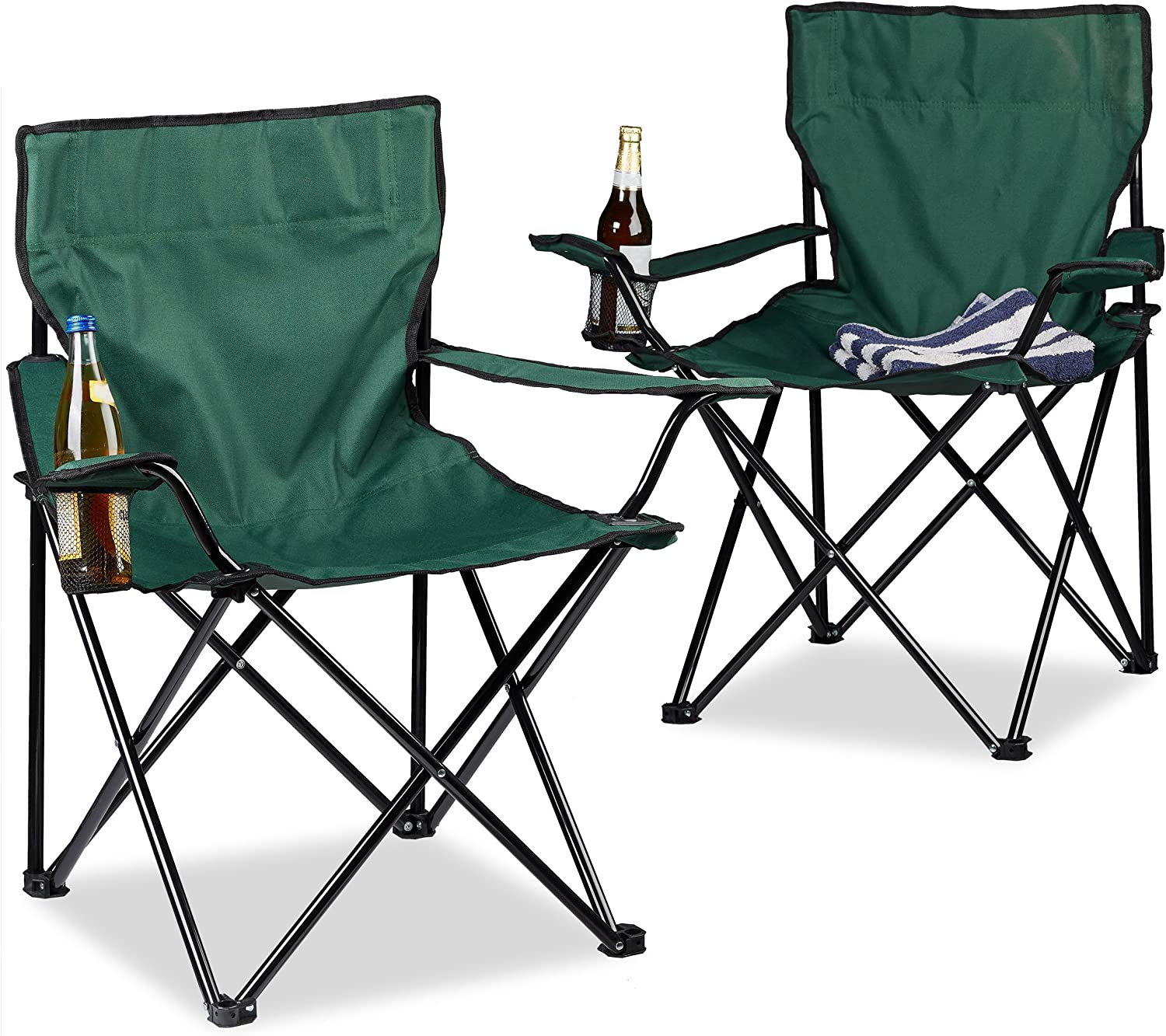 Foldable Relaxdays Camping Chair HxWxD: 81 x 78 x 50 cm Cup Holder Arm Rests Travel Bag Various Colours