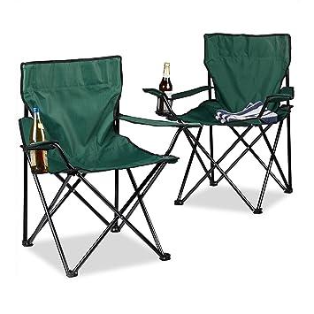 Campingstuhl im 2er-Set mit Rückenpolster und Getränkehalter Faltsessel klappbar