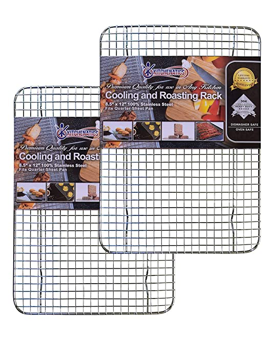 "Stainless Steel Cooling, Baking & Roasting Wire Racks fit Quarter Sheet Size Pans, Oven Safe, Heat Resistant, Dishwasher Safe, Rust Proof, Commercial Quality by Kitchenatics (8.5"" x 12"" - SET OF 2)"