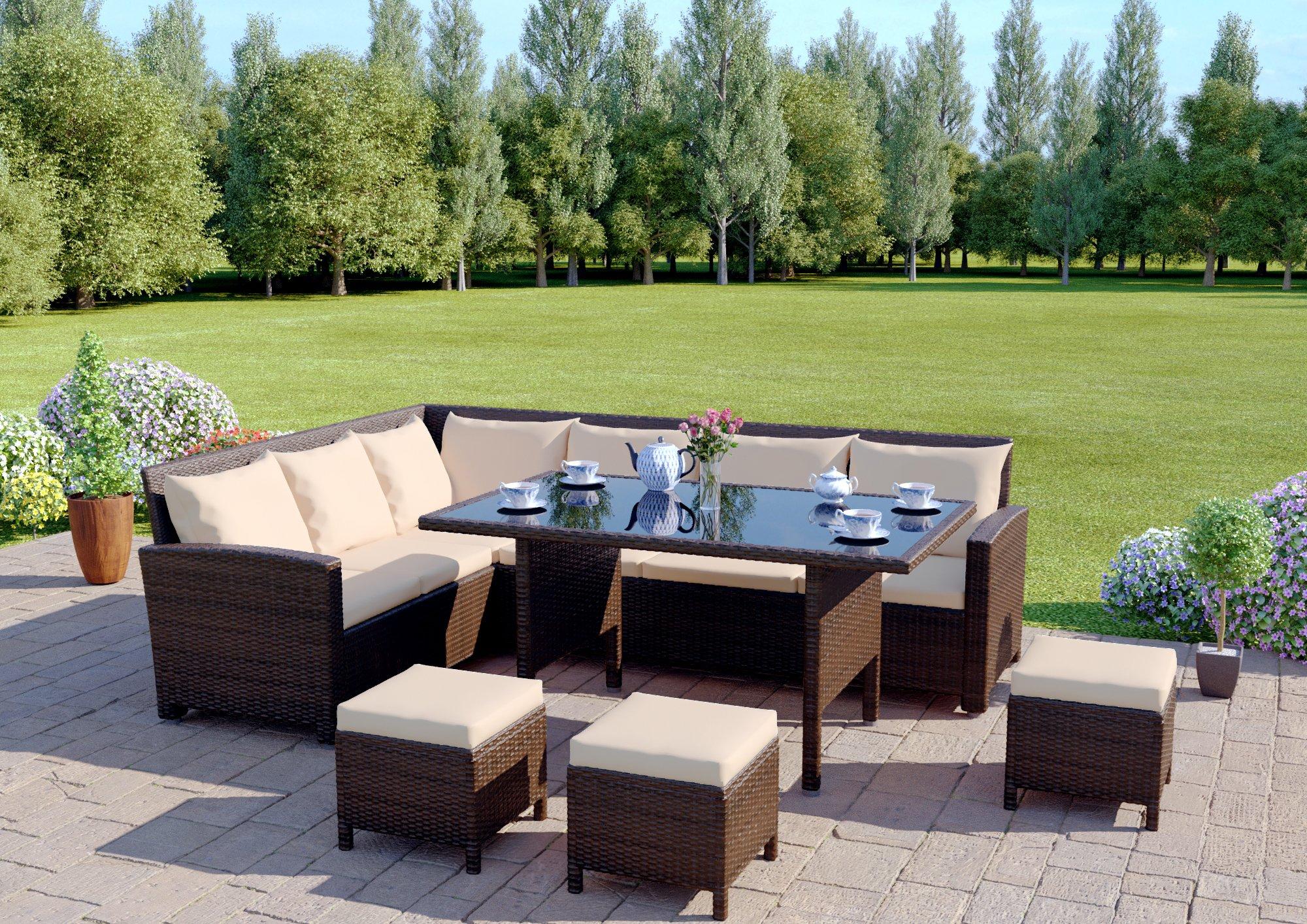Abreo Rattan Dining Set Furniture Garden Corner 9 Seater ...