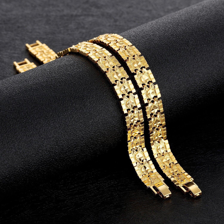 161e379af Amazon.com: OPK Jewelry Luxury Gold Plated Men's Bracelets Chain Link  Bangle Gold Bracelet 8.27 Inch: Jewelry