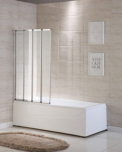 Mecor 4 Folding Shower Screen For Bath Screen Glass Door Panel