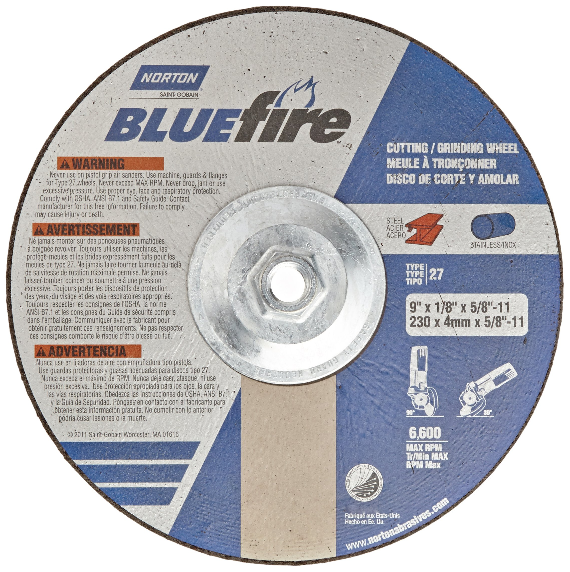 Norton Blue Fire Plus Depressed Center Abrasive Wheel, Type 27, Zirconia Alumina, 5/8''-11 Hub, 9'' Diameter x 1/8'' Thickness  (Pack of 1)