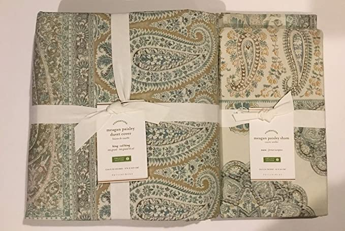 Pottery Barn Meagan Duvet Cover Set Blue Green King 2 King Shams Paisley 3pc New