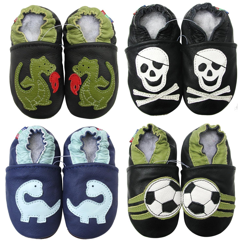 Carozoo Weiche Sohle Leder Babyschuhe Krabbelschuhe Jungen Mädchen Kinder Schuhe Enfants Krippe Hausschuhe Neugeborene (0-6 Monate bis 7-8 Jahre)