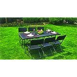 set tavolo pieghevole + 6 sedie pieghevoli da giardino terrazzo in rattan wengè marrone