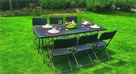 Tavolo Da Terrazzo Pieghevole : Set tavolo pieghevole 6 sedie pieghevoli da giardino terrazzo in