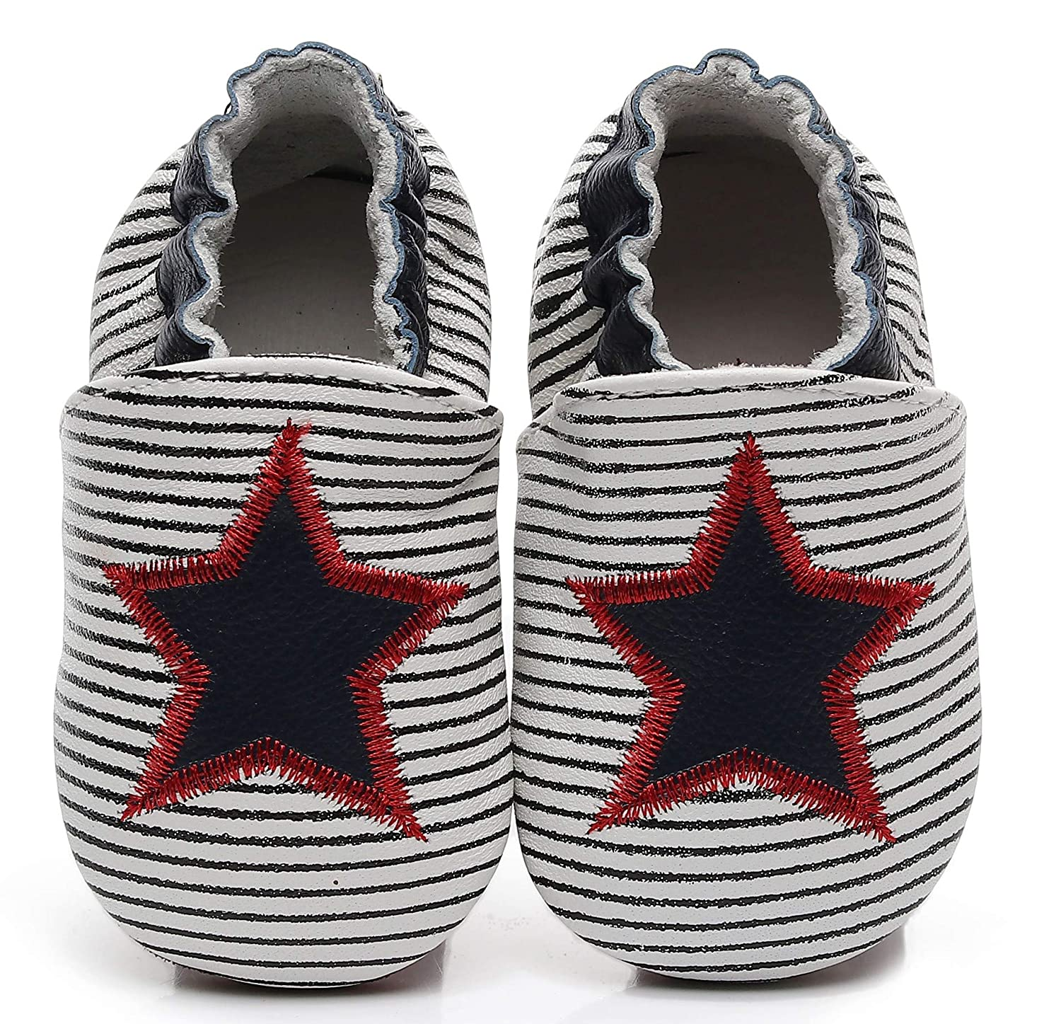 BebilaBaby Shoes - Soft Sole StripeCrib Shoes Leather Star Moccasins for Toddler First Walkers