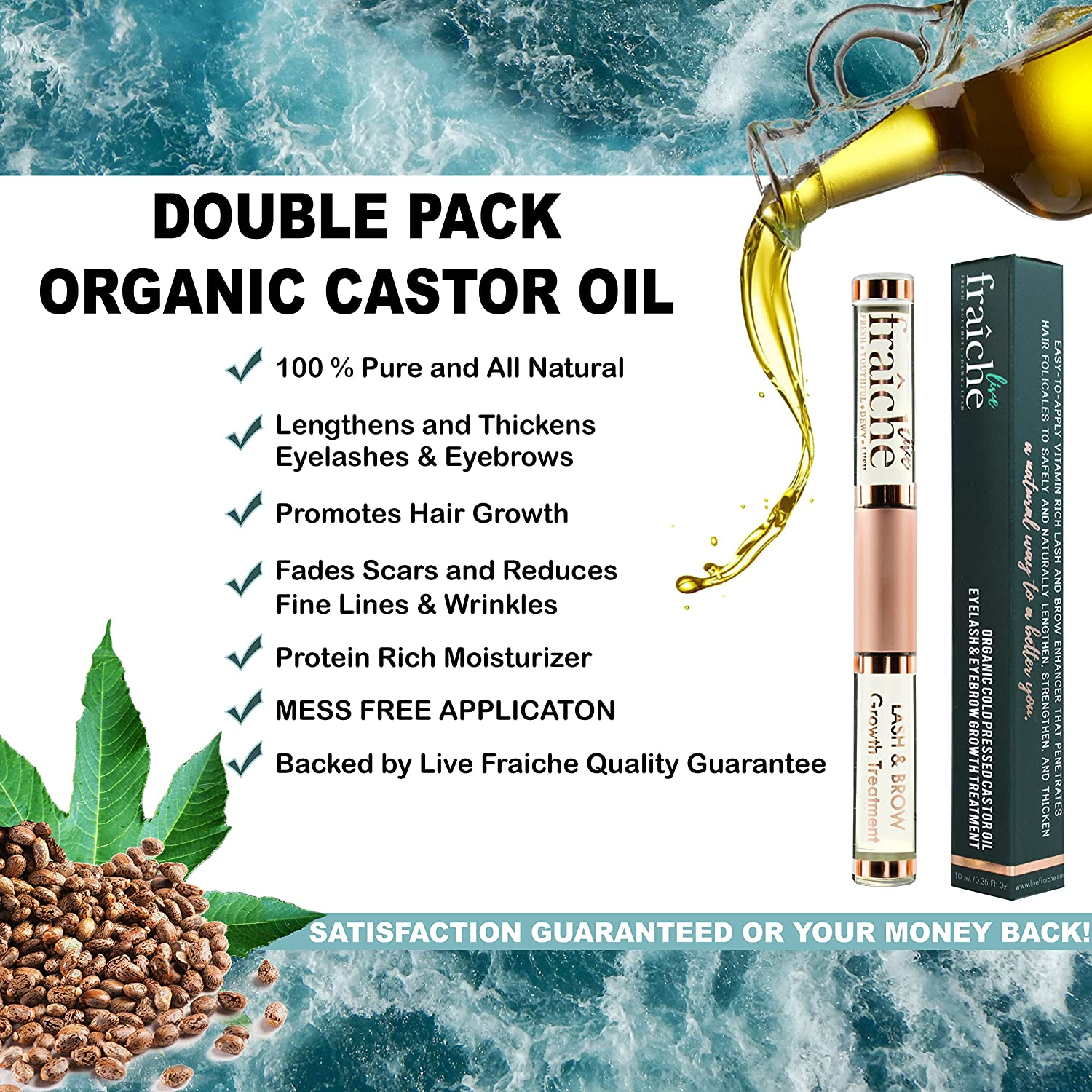 2 PACK Best Organic Eyelash Eyebrow Hair Growth Conditioning Treatment Castor Oil Cold Pressed – 100 Pure Certified Hexane Free with Mascara Tube Eyeliner Brush Applicator to condition lash brow