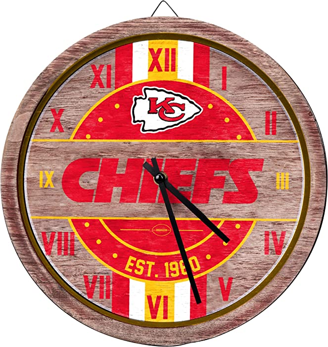 FOCO NFL Wooden Barrel Wall Clock