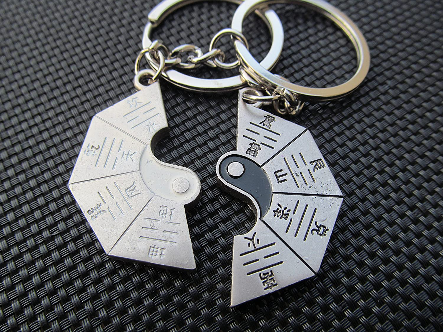20+ different designs of Lovers couples set of 2 cute silver tone heart & key jigsaw keyrings love you forever male & female valentine gift idea posted from London - by Fat-catz-copy-catz lovers keyrings