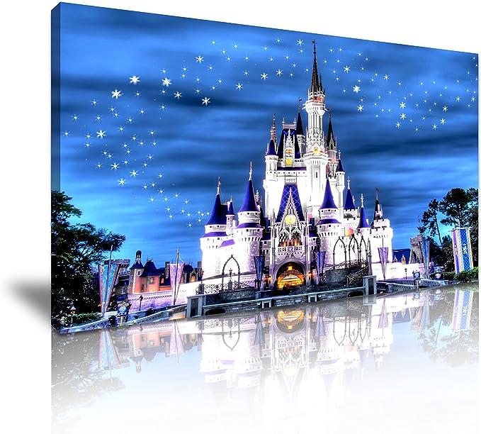 Disney castillo noche estrellada lienzo pared Art imagen impresión 82 cm x 41 cm: Amazon.es: Hogar