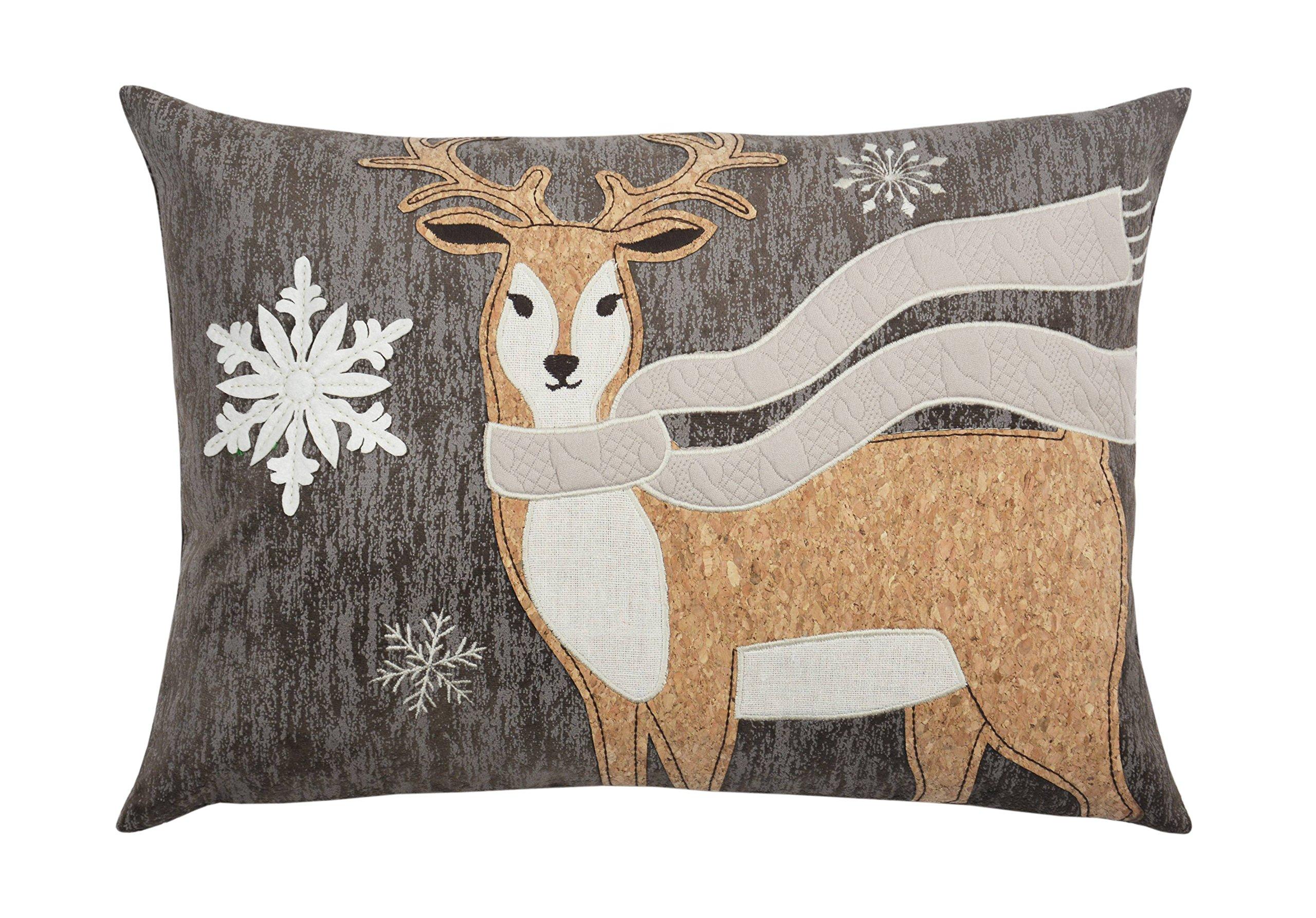Comfy Hour 18''x13'' Wood Reindeer Accent Pillow Throw Pillow Decorative Cushion