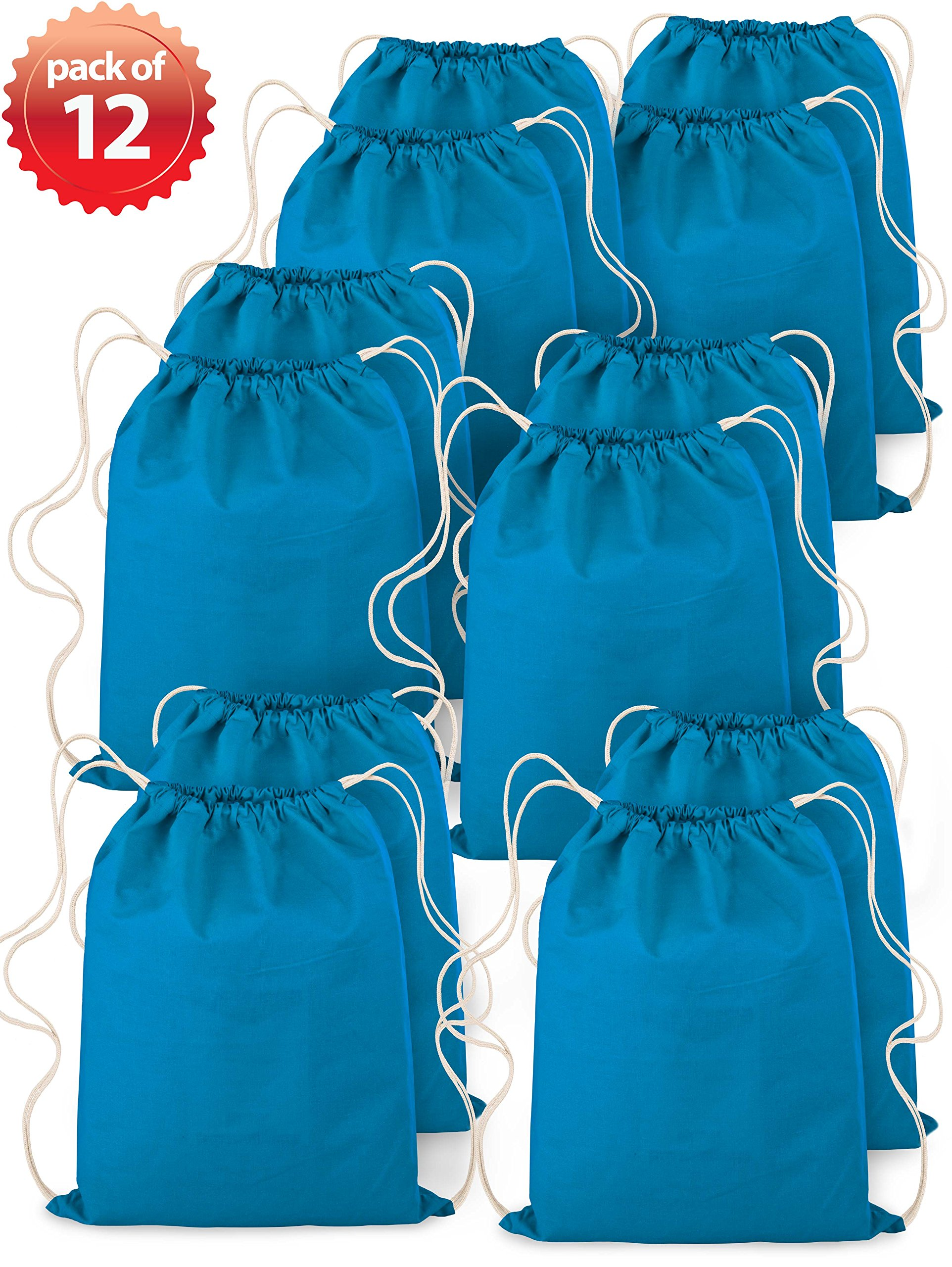 Backpack Drawstring Canvas On-The-Go Sportpack Bag Turquoise 14''x18'' 100% Cotton Pack of 12