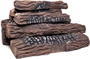 Natural Glo Large Gas Fireplace Logs | 10 Piece Set of Ceramic Wood Logs. Use in Indoor, Gas Inserts, Vented, Electric, or Ou