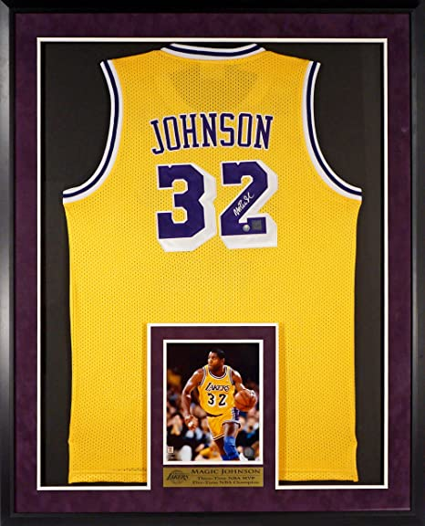 093227500 Los Angeles Lakers Magic Johnson Autographed Jersey with Inset 8x10 Photo  and Floating Plate (COA