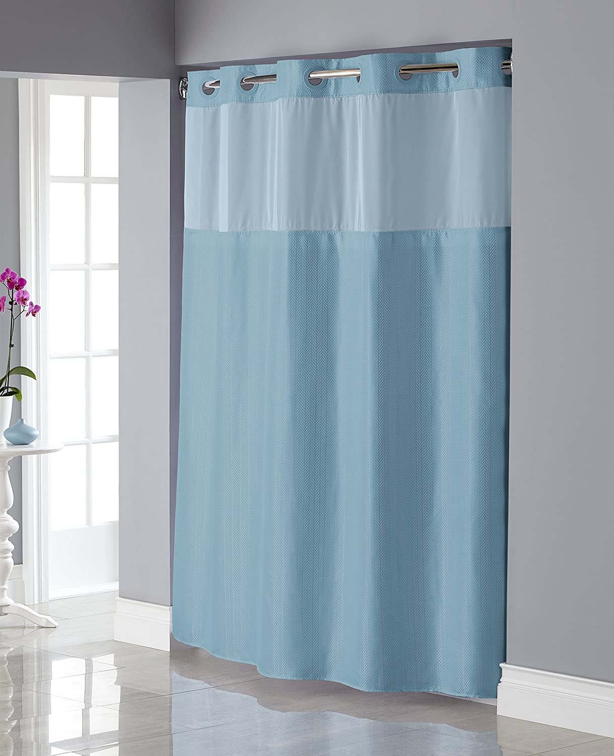 Green hookless shower curtain - Amazon Com Hookless Rbh34my837 Shiny Texture Herringbone Shower Curtain With Snap In Peva Liner Crystal Blue Home Kitchen