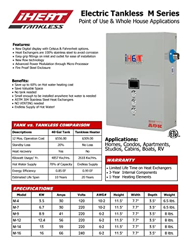 Iheat Electric Tankless Water Heater Model M-14