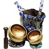 Tibetan Singing Bowls Set. 2 bowls: 4 inches & 3.15 inch, Mallet, Ring Cushions and Nepal Cloth Bag. Great for…