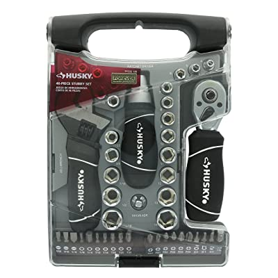 Husky Stubby 46 Piece Ratchet and Wrench Set w/ Drive Sockets, Screwdriving Bits, and Onboard Storage - Husky Ratchet - .com