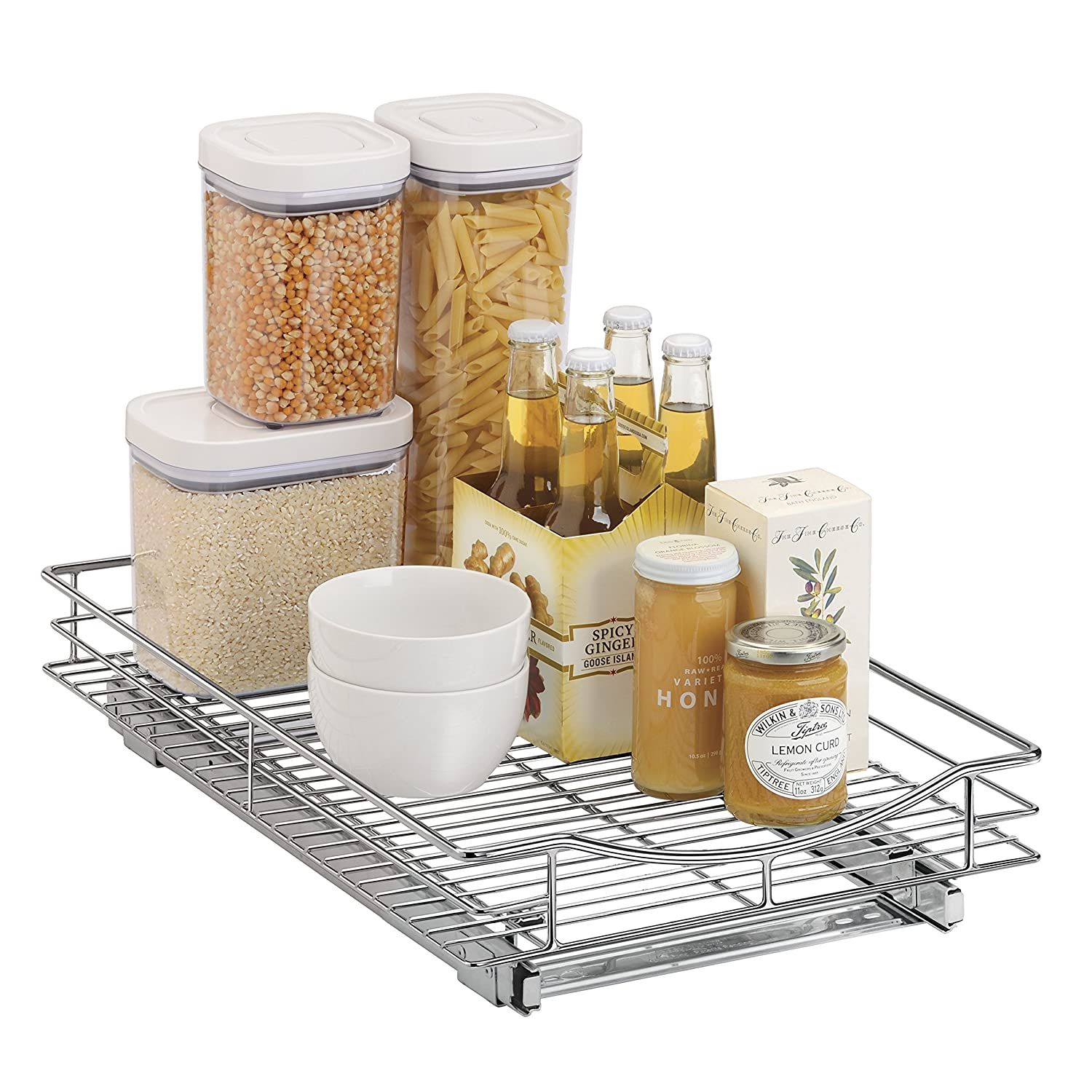 Lynk roll out under sink cabinet organizer pull out two tier sliding - Amazon Com Lynk Professional Roll Out Cabinet Organizer Pull Out Under Cabinet Sliding Shelf 11 Inch Wide X 21 Inch Deep Chrome Home Kitchen
