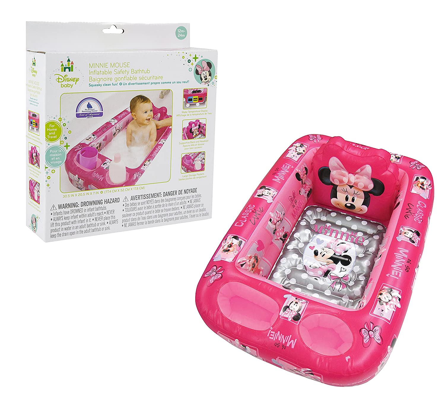 Amazon.com : Disney Minnie Mouse Inflatable Safety Bathtub, Pink ...