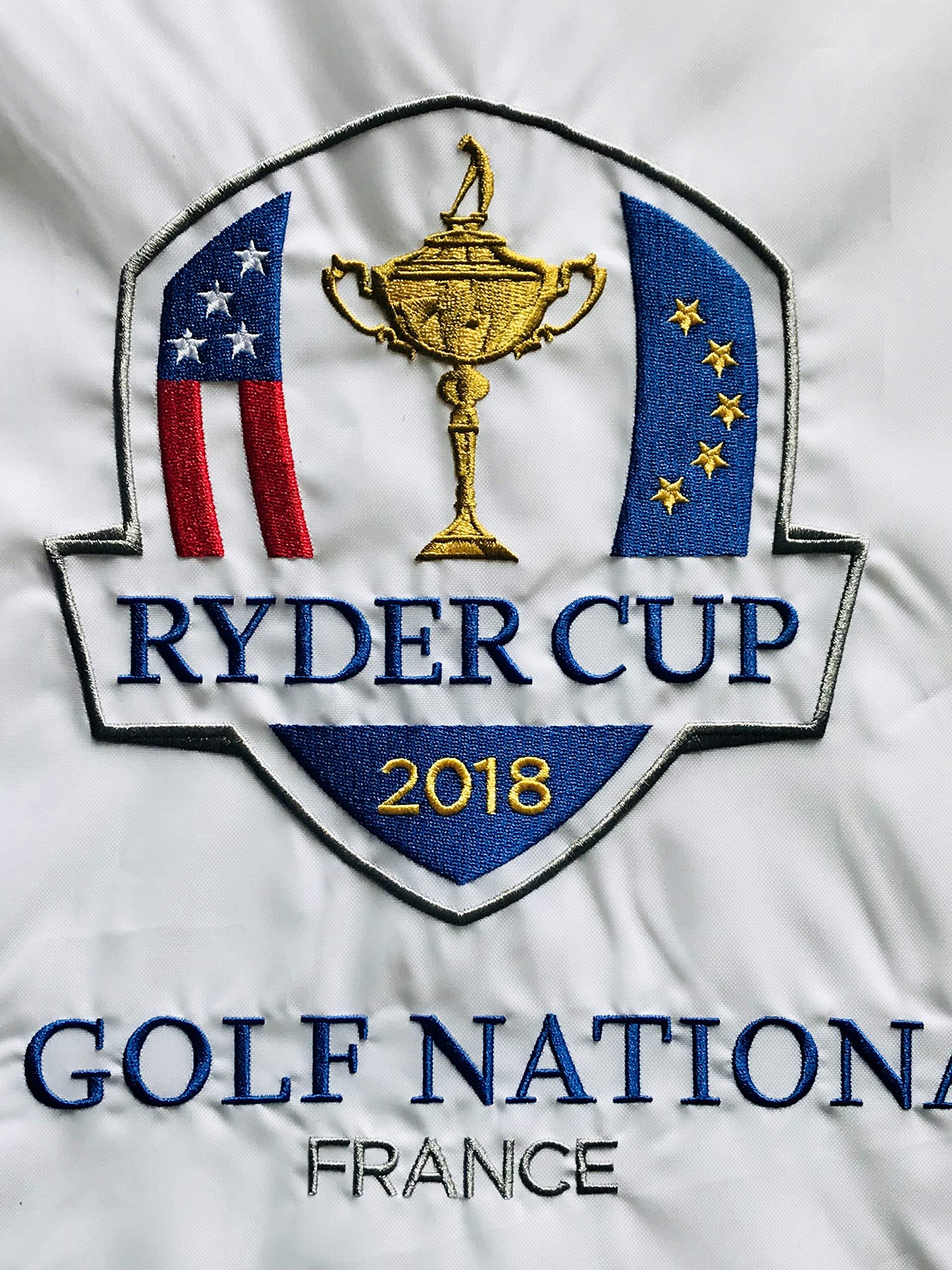 Dustin Johnson 2018 ryder cup signed golf flag team usa pga