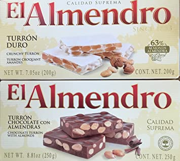 El Almendro Turron Pack: Crunchy and Chocolate With Almonds. 2 Large Bars of Traditional