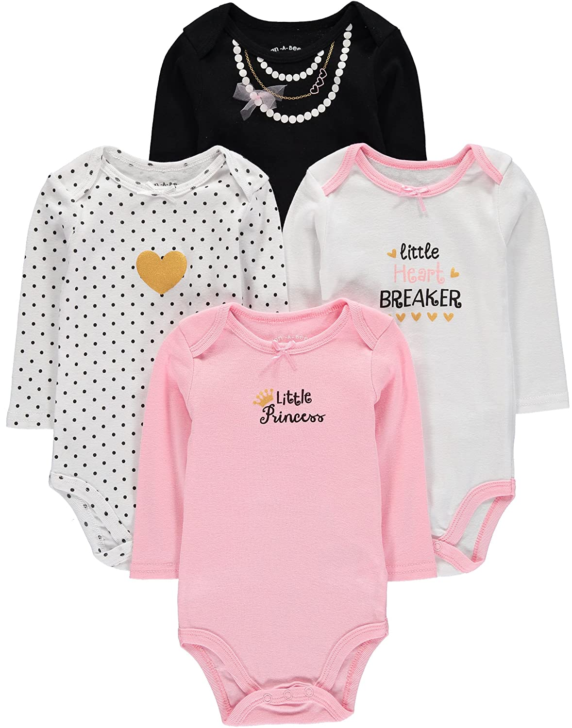 Wan-A-Beez 4 Pack Baby Girls' and Boys' Long Sleeve Bodysuits WBIA
