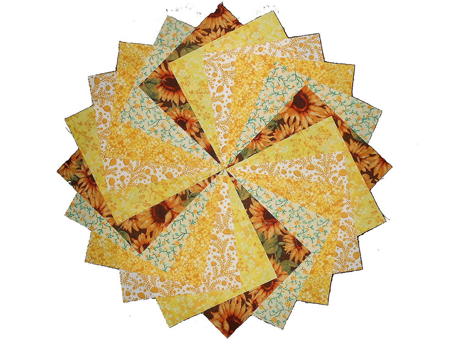 40 5 inch Sunshine Yellow Quilting Squares Charm Pack Fabriquilt