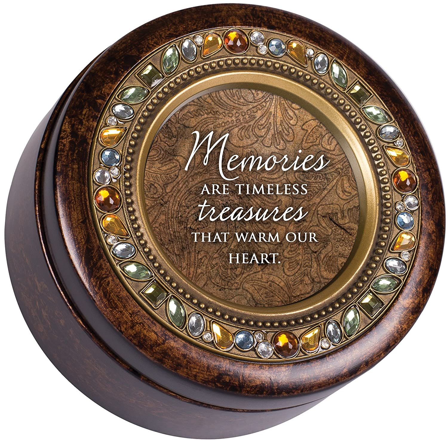 Cottage Garden Memories Treasures Amber Earth Tone Jeweled Music Box Plays Wind Beneath My Wings
