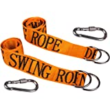 """HIG Tree Swing Straps - Safety Swing Handing Rope, Adjustable and Easy Installation, Swing Rope With Heavy-Duty Hooks (59""""Long, 2""""Wide, Set of 2 Straps)(Orange)"""