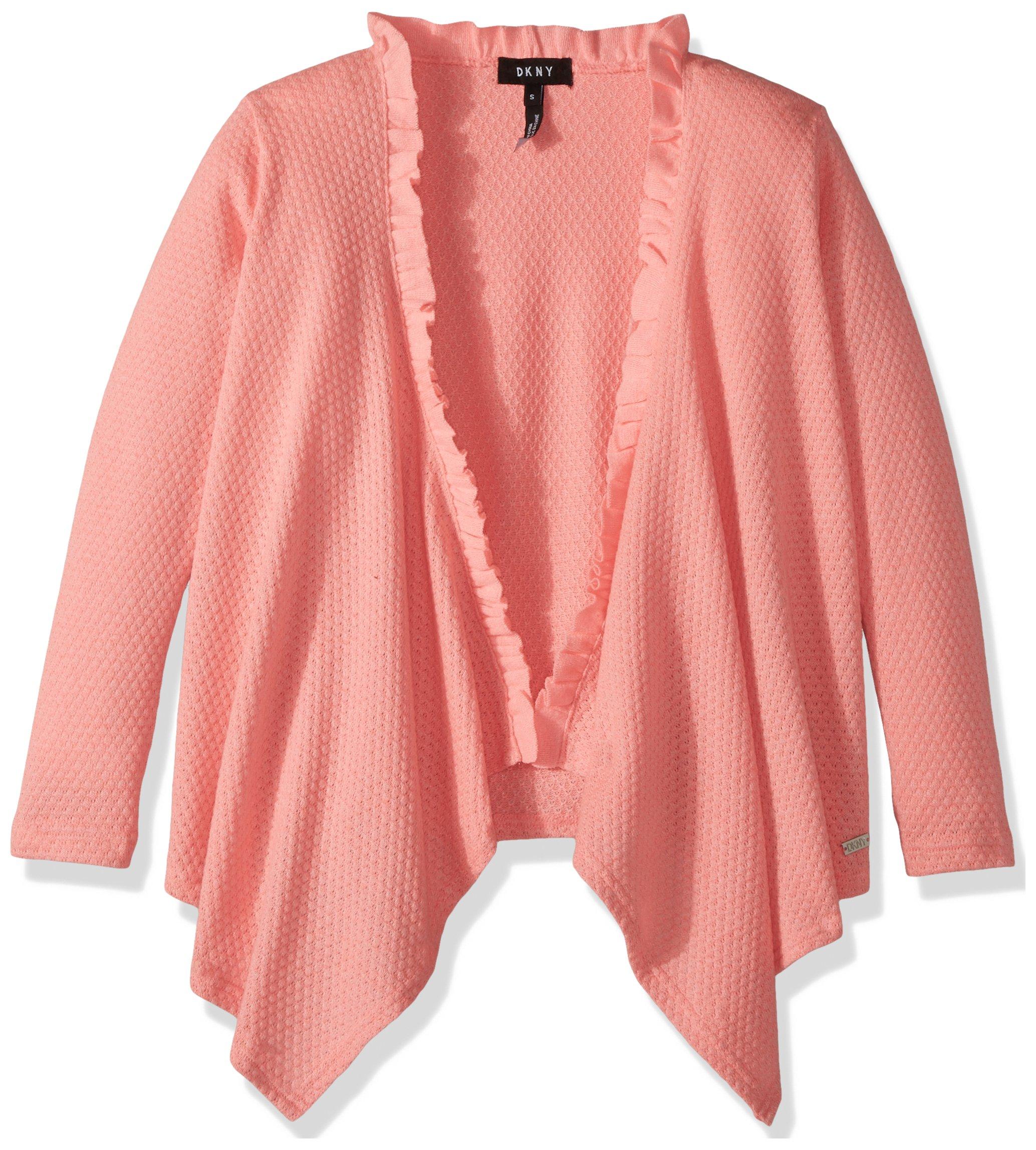 DKNY Big Girls' Sweater, Popcorn Cozy Hot Coral, 12
