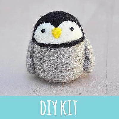 Needle felting kit for beginners, Penguin, DIY craft kit, needle felting starter