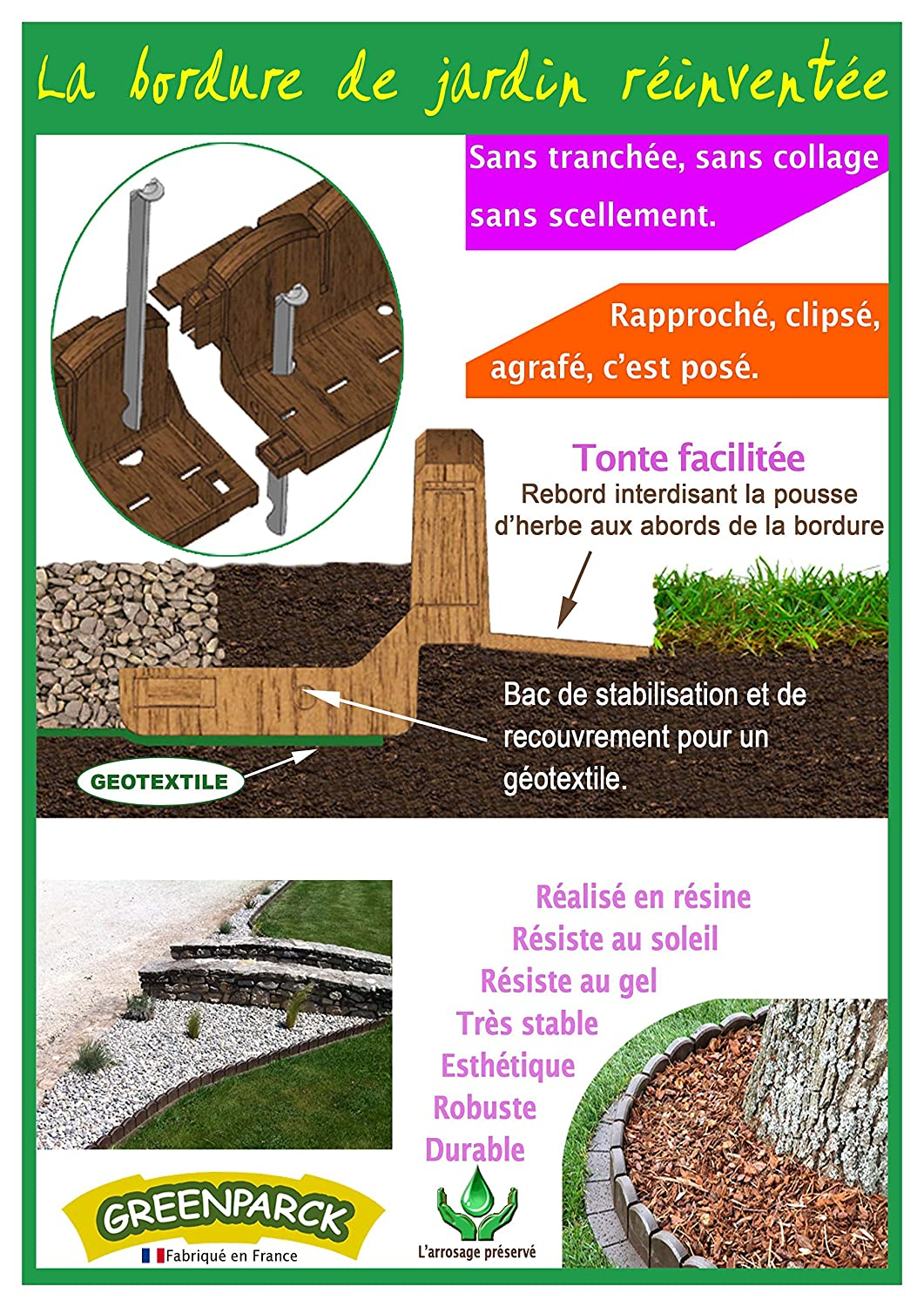 Bordure de jardin en résine composite ANTHRACITE: Amazon.fr: Jardin
