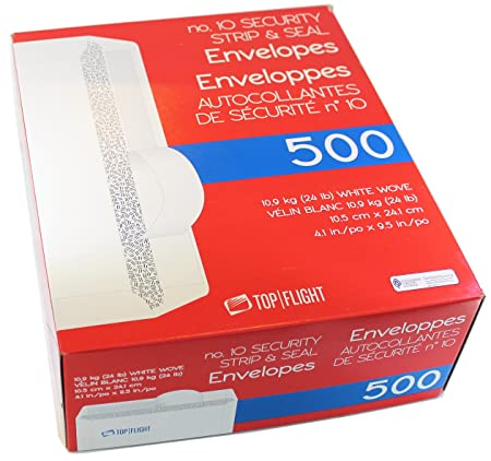 Top Flight PSTF10NWT #10 Envelopes, Strip & Seal, Security Tinted,
