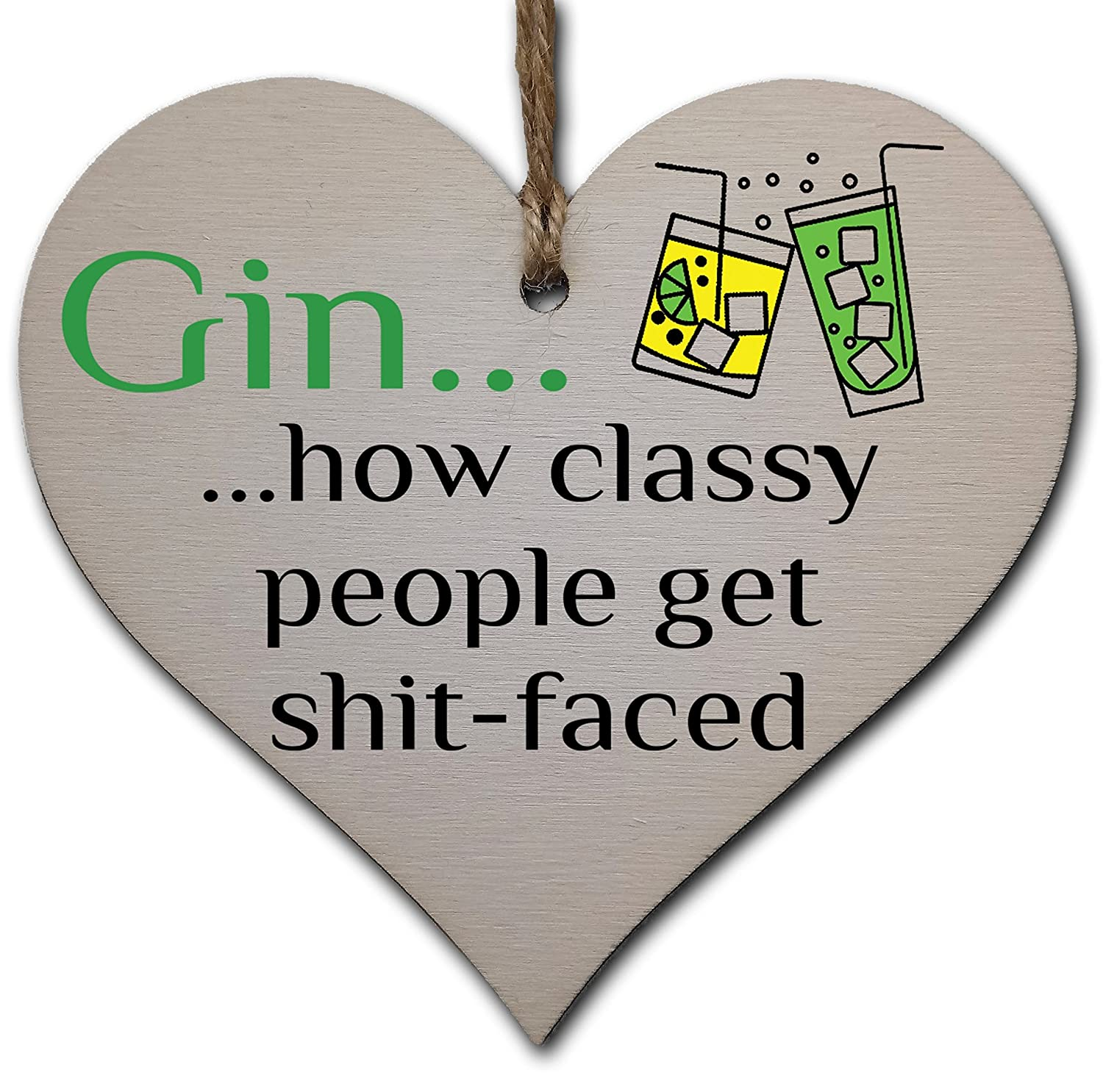 Handmade Wooden Hanging Heart Plaque Gift Perfect for Gin Lovers Novelty Funny Keepsake Gift In Can