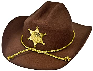 2faa52058a8af ILOVEFANCYDRESS U.S AMERICAN SHERIFF - STURDY COWBOY HAT WITH BROWN FELT  MATERIAL AND GOLD PLASTIC STAR