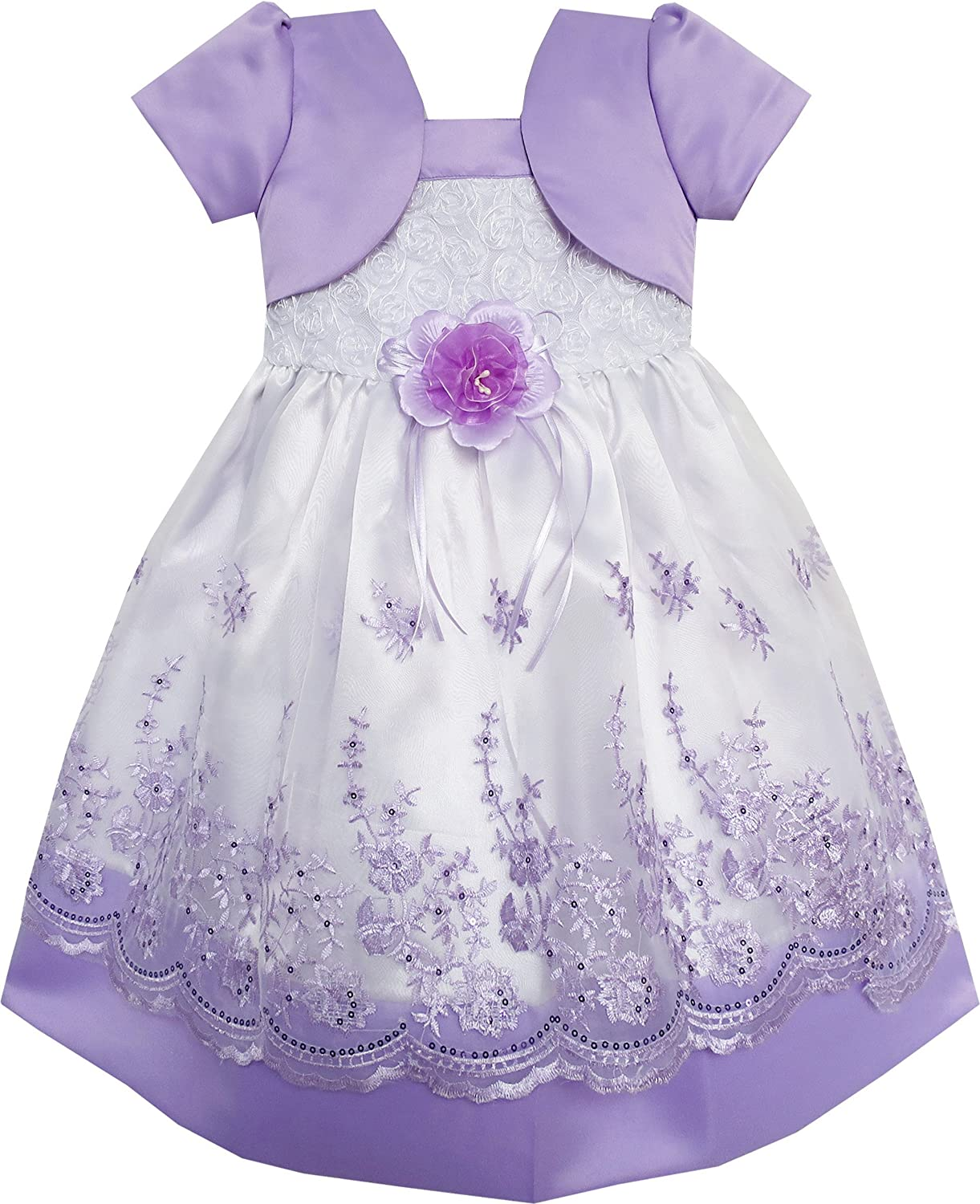 Sunny Fashion 2-in-1 Girls Dress Purple Pageant Lace Flower Wedding Party