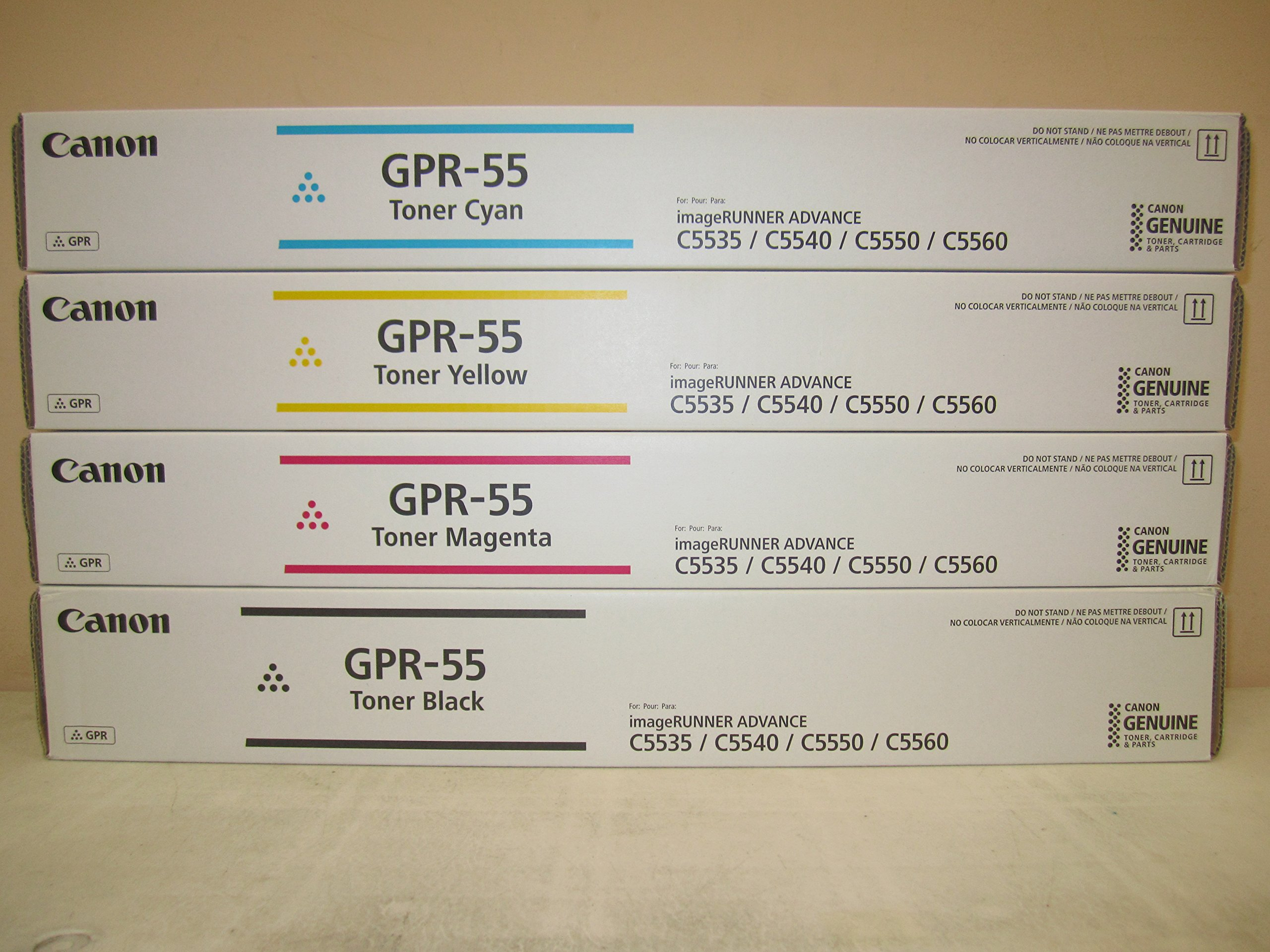 GENUINE CANON GPR-55 BLACK CYAN MAGENTA YELLOW TONER SET for use in the Canon imageRUNNER ADVANCE C5535i / C5540i / C5550i and C5560i by Canon