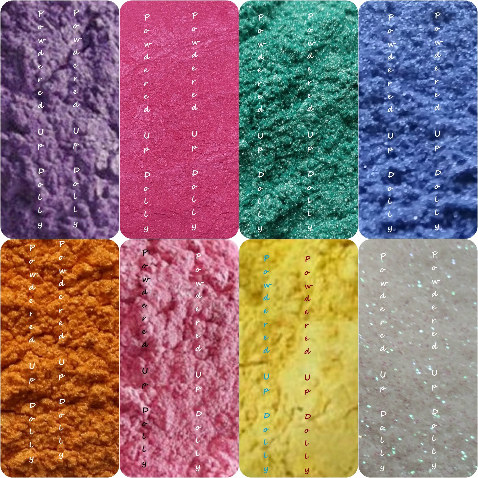 160 Grams Mica Colorants Lot of 8 Cosmetic 20g Each Soap and Craft Color Pigment Powders Teal Yellow Pink Orange Purple Hot Magenta Pink Fuchia GLITTERING White Blue in Bags Set by Powdered Up Dolly (Image #1)