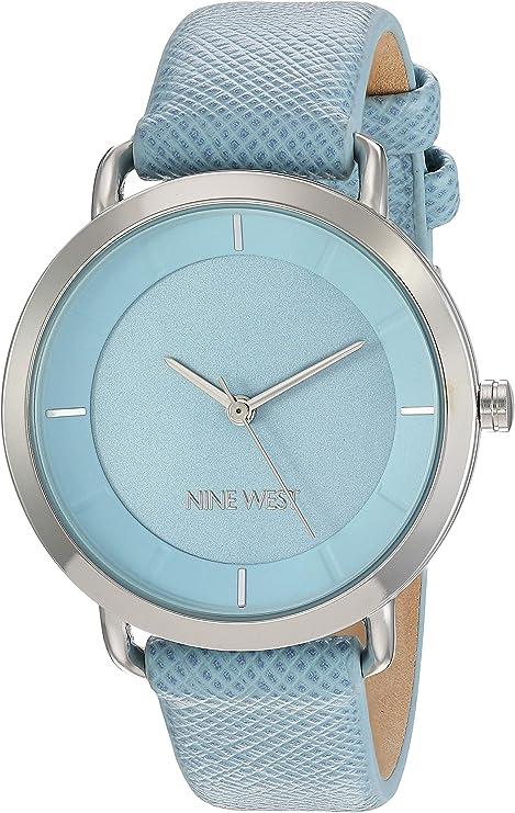 Nine West - Reloj de pulsera para mujer con correa de piel vegana, Azul/Plateado: Amazon.com.mx: Relojes