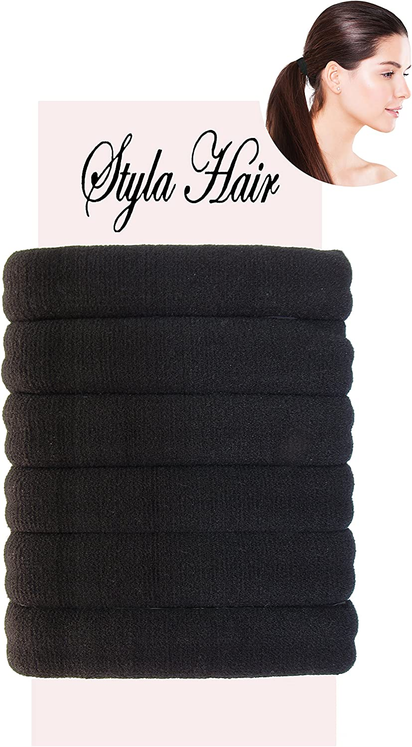 6X THICK SNAG FREE ENDLESS HAIR ELASTIC PONYTAIL BOBBLE HAIR BANDS TOWELING TYPE