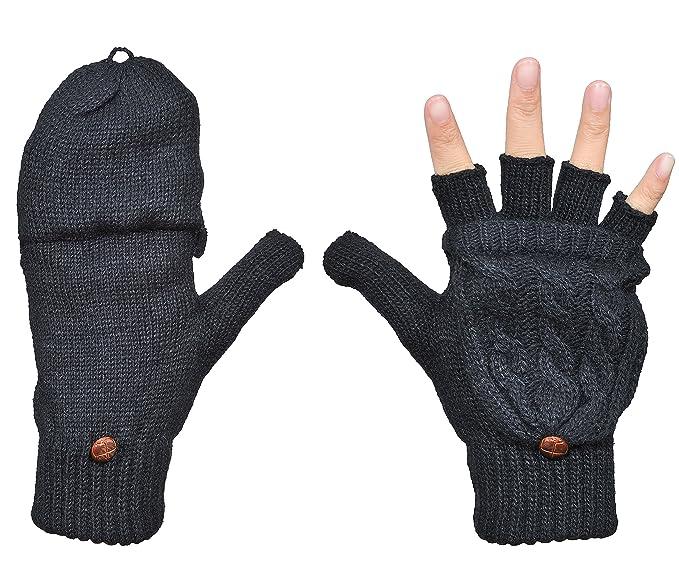 4c640b0d11c8e Beurlike Women's Winter Gloves Warm Wool Knitted Convertible Fingerless  Mittens (Black)